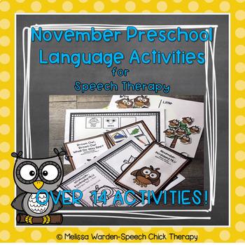 November Interactive Preschool Speech Therapy Activities