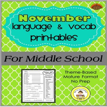 November Language and Vocabulary Printables for Middle School Speech Therapy