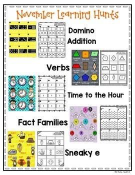 November Learning Hunt - Write the Room- I Spy ELA/Math Centers