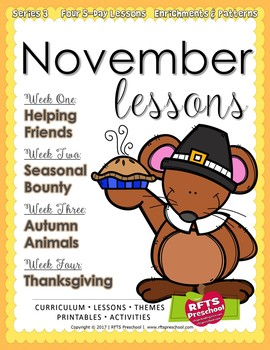 November Lesson Plans Series 3 (Four 5-day Unit)