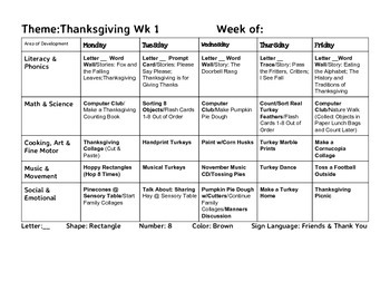 November Lesson Plans, Thanksgiving Theme, 2 Weeks