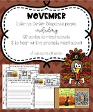 November Listening Center Response Pages QR codes to read-alouds & prompts
