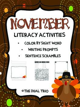 November Literacy Activities- English