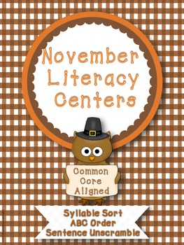 November Literacy Centers - Common Core Aligned