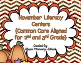 November Literacy Centers {Common Core Aligned for 2nd and
