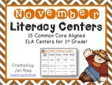 November Literacy Centers Menu {CCS Aligned} Grade 1