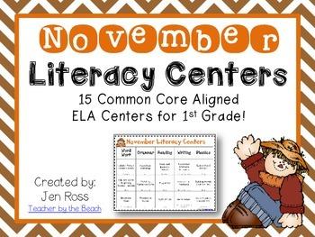 November Literacy Centers Menu {CCS Aligned} Grade 1