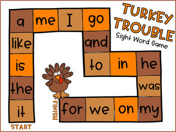 Sight Words Game- November Literacy Centers, Thanksgiving Activities