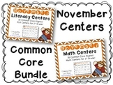 November Literacy & Math Centers Menu BUNDLE {CCS Aligned} Grade 1
