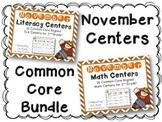 November Literacy & Math Centers Menu BUNDLE {CCS Aligned} Grade 2