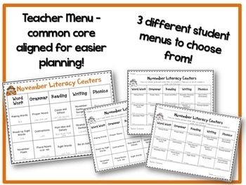 November Literacy & Math Centers Menu BUNDLE {CCS Aligned} Grade 2