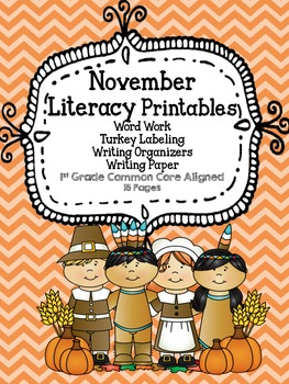 November Literacy Word Work and Writing Printables
