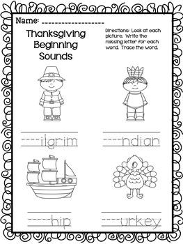 November Literacy Word Work and Writing Printables