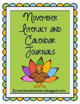 November Literacy and Calendar Journals