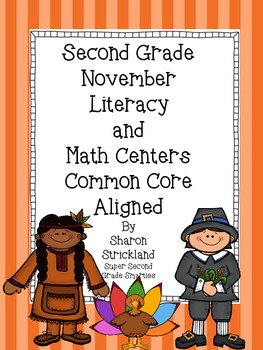 November Literacy and Math Centers for Second Grade-Common Core Aligned