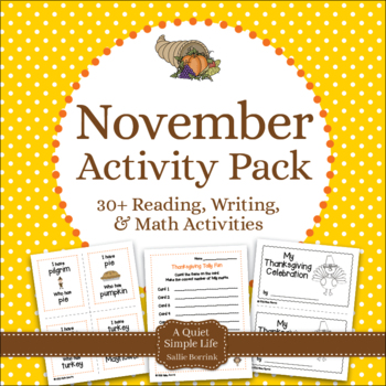 November Literacy and Math for Kindergarten and First Grade