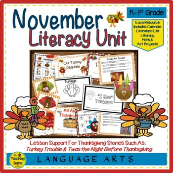November Literature Unit : Reading, Writing, Math Activities & Center Games