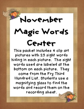November Magic Words