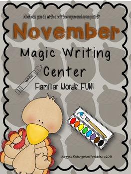 November Magic Writing Center Activities