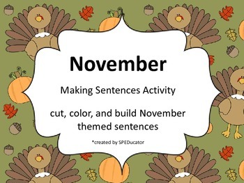 November Making Sentences Activity