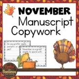 November Copywork - Manuscript Handwriting Practice