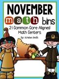 November Math Bins- 21 common core aligned math centers