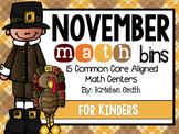 November Math Bins For Kinders {common core aligned)