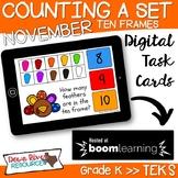 November Math Boom Cards   Ten Frames Kindergarten TEKS