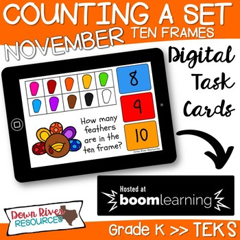 November Math Boom Cards | Ten Frames Kindergarten TEKS