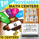 November Math Centers for 1st Grade | Thanksgiving Activities