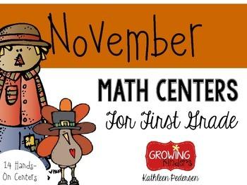 November Math Centers For First Grade