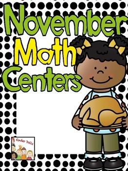 November Math Centers- Kindergarten