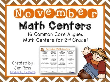 November Math Centers Menu {CCS Aligned} Grade 2
