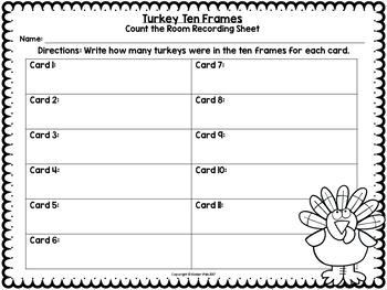Ten Frame Turkeys- November Math Centers, Thanksgiving Activities