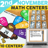 November Math Centers for 2nd Grade | Printable & Digital Included