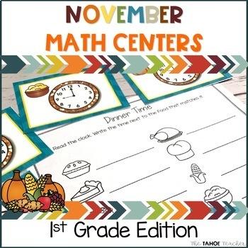November Math Centers for 1st Grade