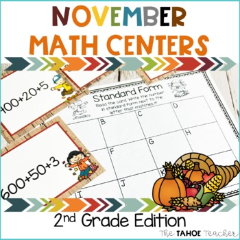 November Math Centers for 2nd Grade