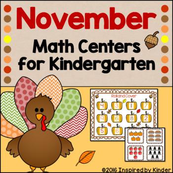 November Math Centers for Kindergarten