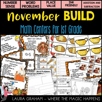 November Math Stations for First Grade