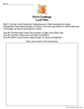 November Math Challenge-FREE Thanksgiving & Fall Fast Finisher, Center, Homework