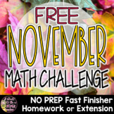 Thanksgiving Math Activities | 2nd Grade 3rd Grade | Math Challenge Problem FREE