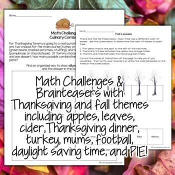 Thanksgiving Math Activities   2nd Grade 3rd Grade Math Challenges for November