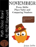 Math Homework Place Value and Comparing Numbers, NO PREP
