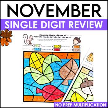 November Math Color By Code Multiplication Practice
