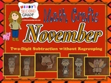 November Math Crafts Subtracting Two-Digit Numbers without