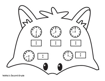 November Math Crafts Writing/Drawing  Digital/Analog Time Hour/Half-Hour