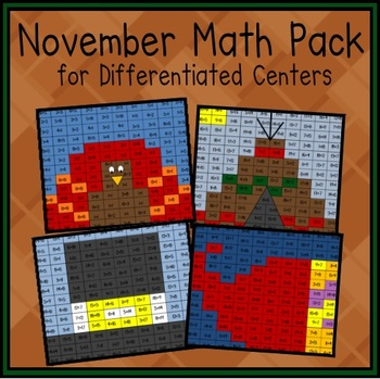 November Math Facts Pack (Differentiated Centers)