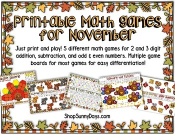 November Math Games - Print and Play!
