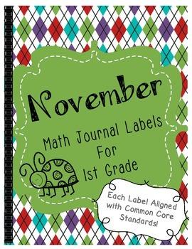 November Math Journal Labels ~ CCSS Aligned