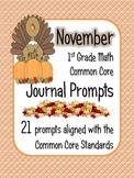 November Math Journal Prompts - 1st Grade. Common Core
